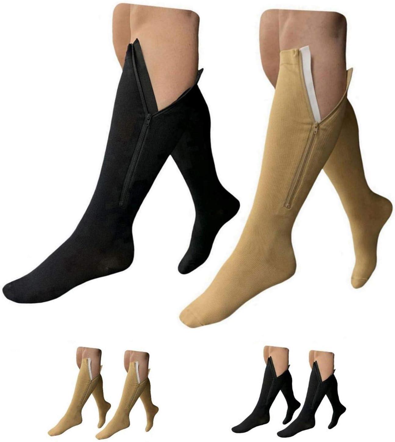 HealthyNees 15-20 mmHg Zipper Compression Wide Big Calf Socks 2 Pack Closed Toe (2 Pairs Mix, 2XL)