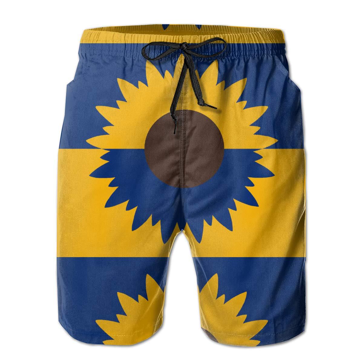 Galaxy Voyage Kansas Flag Boy Men S Swim Trunks Surf Pants 3D Swimming Trunks Board Shorts for Men