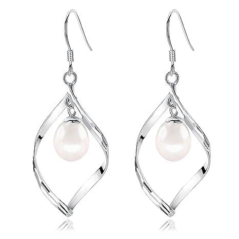 925 Sterling Silver Twist Earrings Linear Loops Design Pearl Dangle Earrings 11lmo