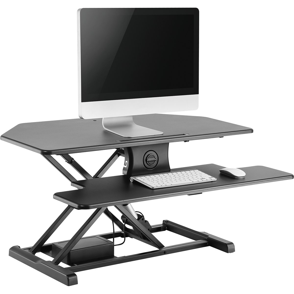 "AdvnUp 37.4"" 2-Tier Electric Ergonomic Corner Standing Desk Converter Riser, Motorized Height Adjustable Stand up Workstation, 44lbs Capacity 