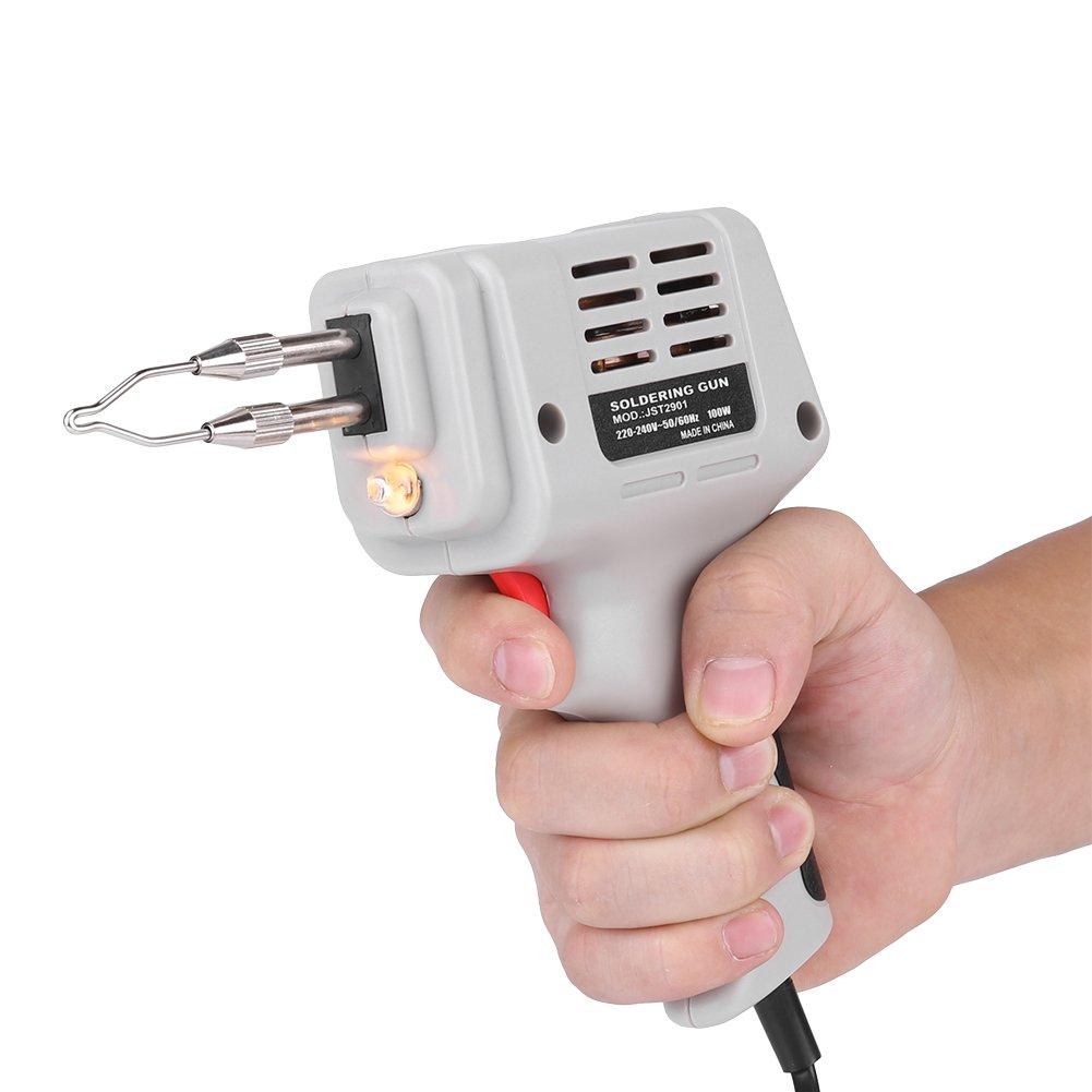 220V 100W Pistola de Soldadura Soldador Eléctrico de Mano Soldador con Alambre y Luces (Enchufe de la UE): Amazon.es: Bricolaje y herramientas