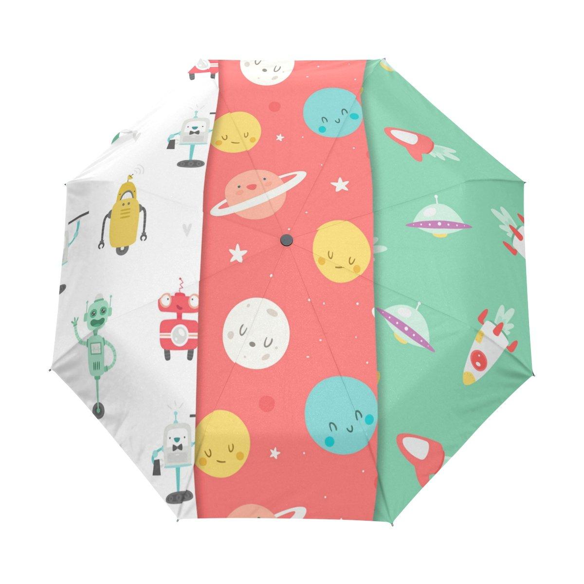 Senya Saobao防風と防雨トラベル傘with自動開いて閉じFolding Babyパターンコレクションポータブル折りたたみ式太陽雨傘 B07FP1VMRV