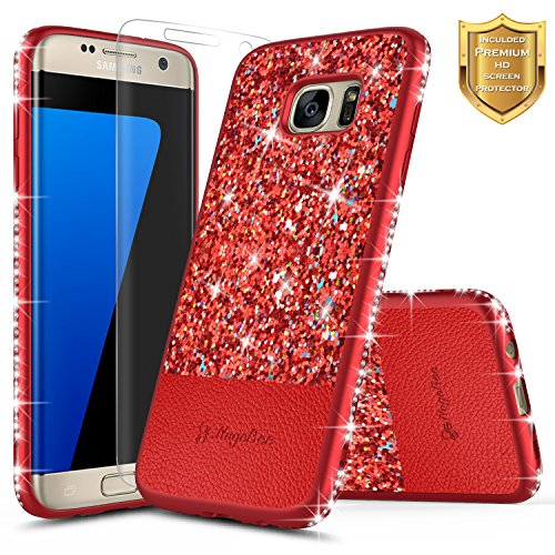 Galaxy S7 Edge Case with [Screen Protector HD Clear], NageBee Shiny Diamond Glitter Bling Crystal Super Slim Protective Soft TPU Leather Hybrid Case for Samsung Galaxy S7 Edge G935 (Red)