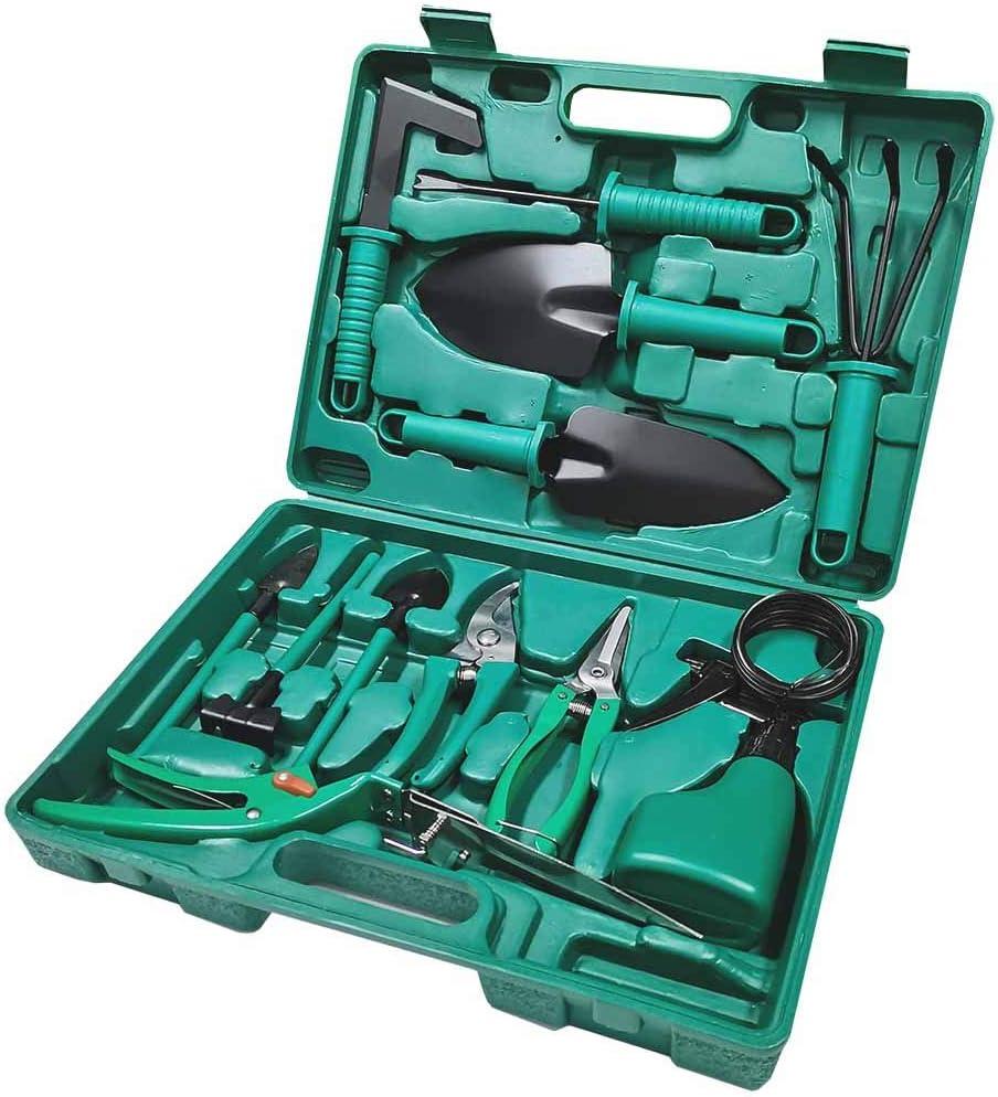 TOORGGOO Gardening Tools, Carbon Steel Garden Tool Set with Storage case -14Piece Gardening Tool Set, Gardening Gifts for Women & Men & Gardener.