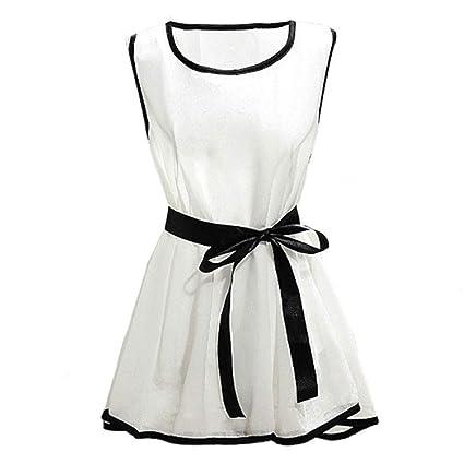 Diseño delgado dulce de las mujeres Vovotrade T-camisa Tela de chifón de sin mangas