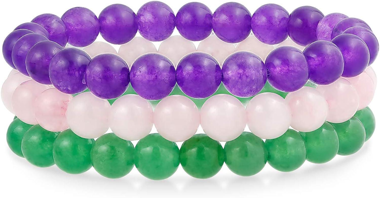 Bling Jewelry - Juego de 3 pulseras elásticas unisex apilables de 8 mm con cuentas redondas para mujeres, adolescentes, hombres, múltiples hebras, apilables, ajustables