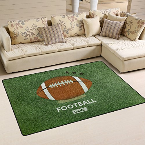 WOZO Vintage American Football Field Grass Area Rug Rugs Non-Slip Floor Mat Doormats for Living Room Bedroom 31 x 20 inches Vintage American Football