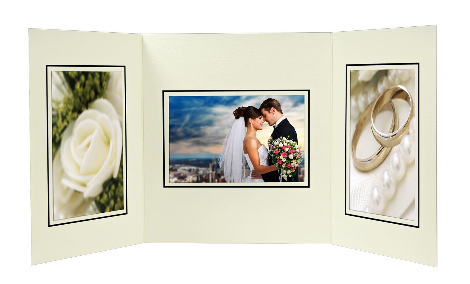 Golden State Art, Cardboard Photo Folder for 3 4x6 Photo (Pack of 50) GS002 Ivory Color