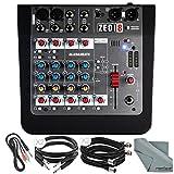 Allen & Heath ZEDi8 Compact 8-Channel Hybrid Mixer & USB Interface + Basic Bundle 5X Cables, Fibertique Cleaning Cloth