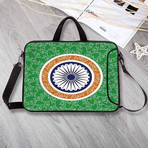 "(Chakra Decor Lightweight Neoprene Laptop Bag,Asian Independence Day Celebration Concept with Spinning Wheel of Rays Motif Print Laptop Bag for Laptop Tablet PC,13.8""L x 10.2""W x 0.8""H)"
