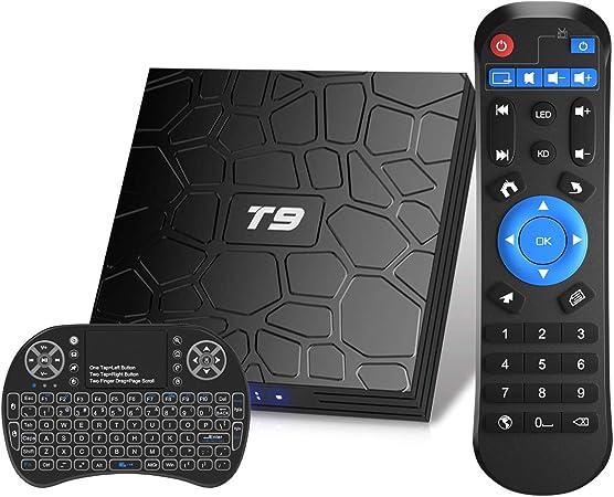 Android TV Box, T9 Android 9.0 TV Box con Mini Teclado inalámbrico 4GB RAM 32GB ROM RK3318 Bluetooth 4.0 Procesador Quad-Core Cortex-A53 2.4/5.0GHz WiFi Compatible con 4k2k Ultra H.265 Smart TV Box: