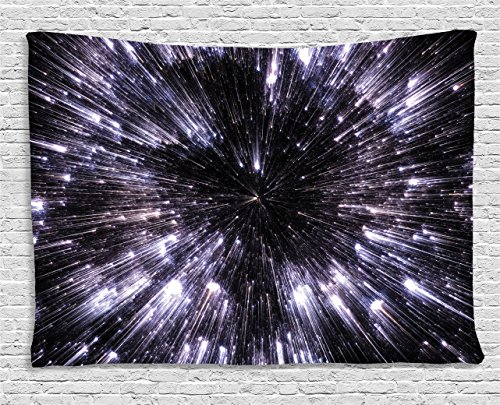 Galaxy Tapestry Wall Hanging by Ambesonne, Speed of Life Space Travel Themed Fantastic Galaxy Wars Universe Science Fiction Futuristic, Bedroom Living Room Dorm Decor, 60 W X 40 L Inches, Violet Black - Futuristic Decor