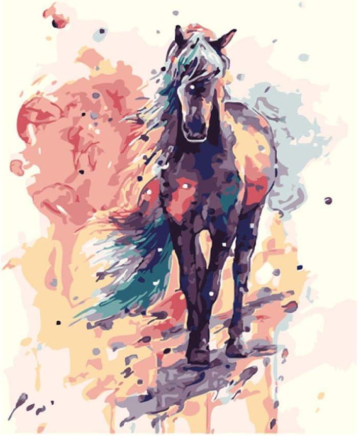 ONEZERT Caballo de Acuarela Pintura Hecha a Mano Lienzo Hermosa Pintura por números Regalo Sorpresa Gran Logro sin Marco