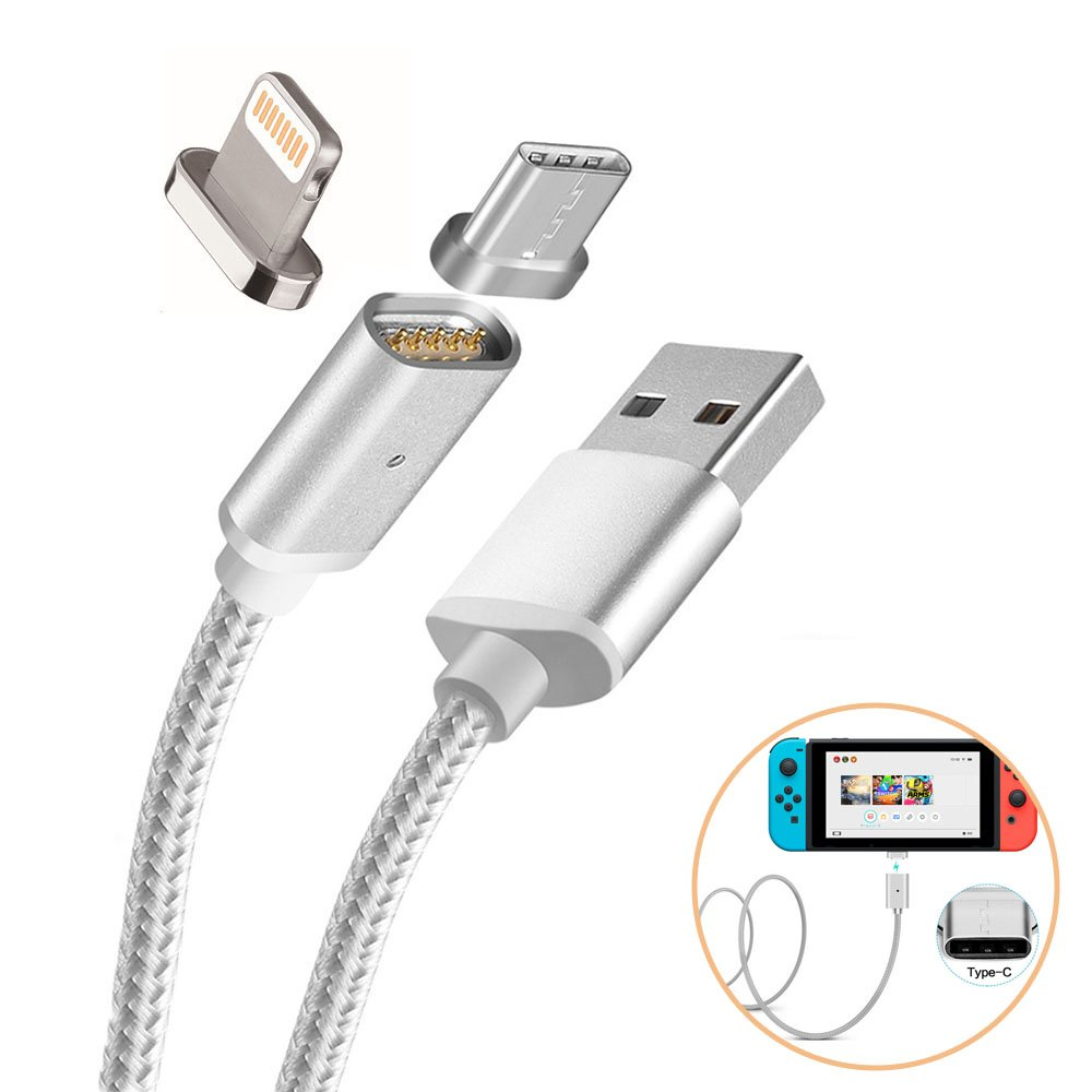Magnetic USB Charging Cable for Nintendo Switch, 2 in 1 USB Type-C and Mini 8 Pin, #22 Charge Cable to Suit iPhone/iPad and Nintendo Switch