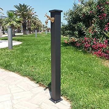 Elegant Fonderia Bongiovanni Brunnen A Säule Aus Stahl Mit Wasserhahn Für Außen Haus  Garten Typ Olimpia Farbe