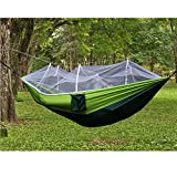 Camping Hammock with Mosquito Net Tree Straps Green