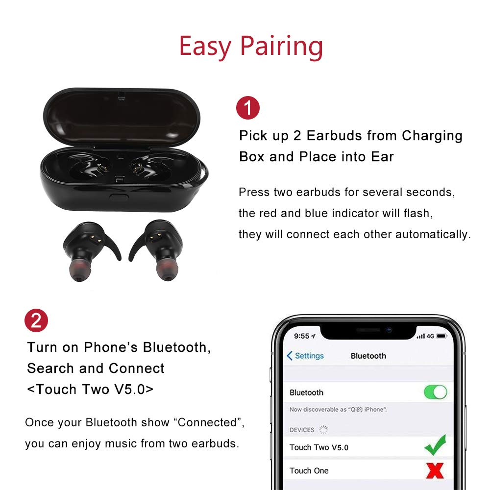 8655dc74933 Amazon.com: True Wireless Earbuds, Bluetooth 5.0 headphones TWS in-Ear  Earbuds with Mic, Touch Control Bluetooth headsets with 18H Playtime  Charging Case, ...