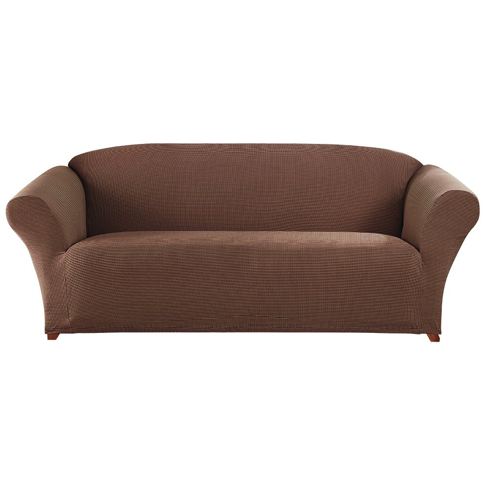 Sure Fit Two Tone Stretch Honeycomb 1 Piece Sofa Slipcover Brown Sf42940 Ebay