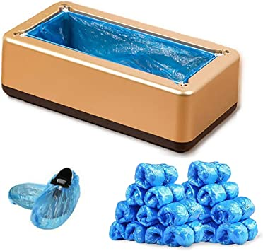 Office and Lab Shoe Cover Machine Shop Automatic Portable Shoe Covers Dispenser with 100 Pcs Disposable Plastic Water Resistant Shoe Covers Perfect for Home