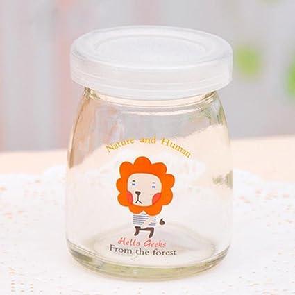 100 ml pudín de cristal de dibujos animados botella de yogur resistente a altas temperaturas de
