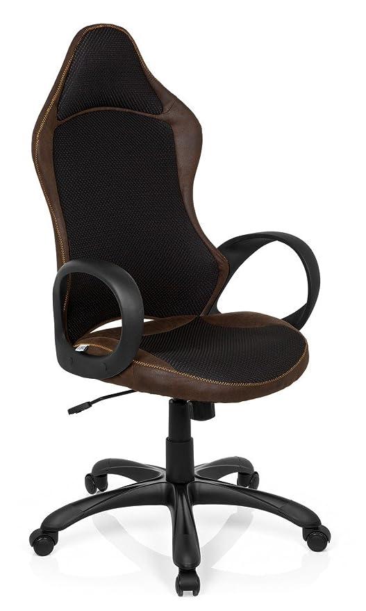 hjh OFFICE 621872 silla gaming RACER VINTAGE II piel sintética marrón, ergonómica, tejido de