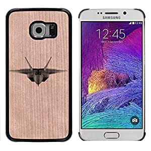 // MECELL CITY PRESENT // Cool Funda Cubierta Madera de cereza Duro PC Teléfono Estuche / Hard Case for Samsung Galaxy S6 EDGE /// Fighter Jet Airplane Military Air Force ///