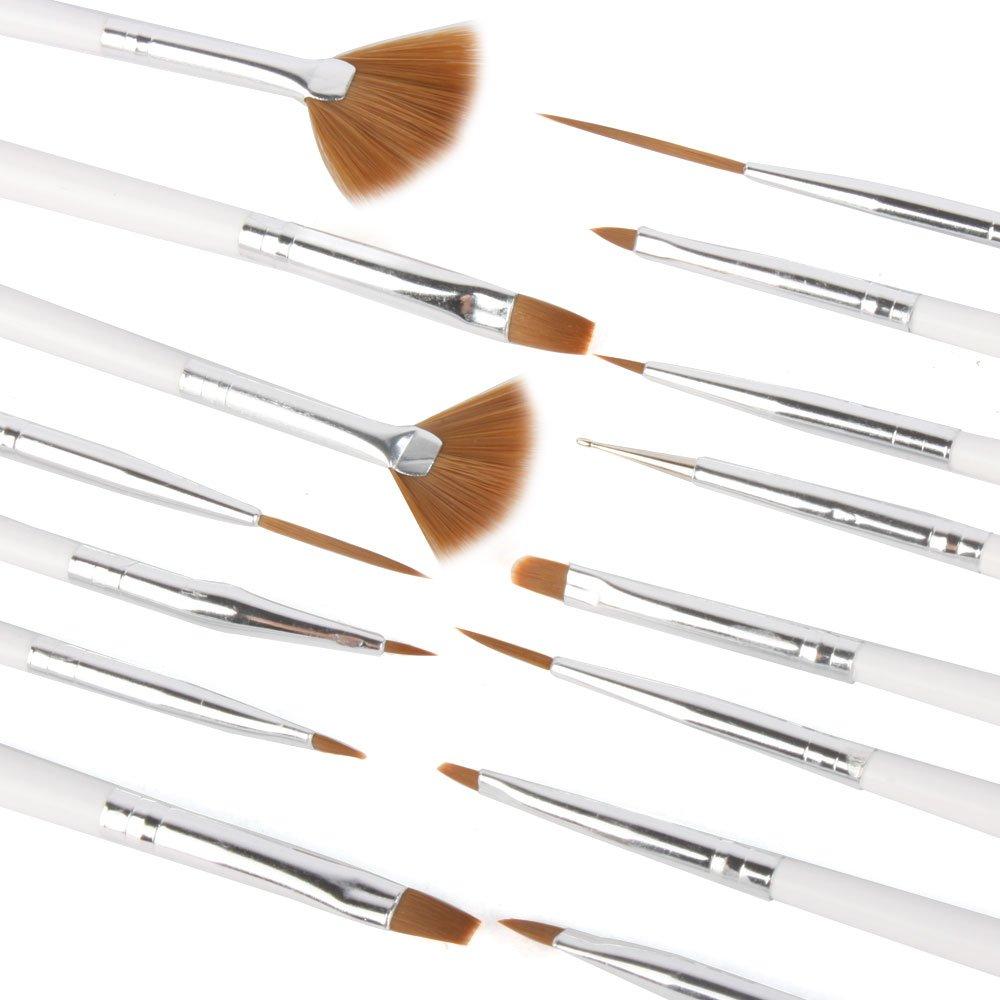 YESURPRISE 15x Nail Art Tip Brush Pen Paint Dotting Draw White Pink Acrylic Design Liner Kit Set USA