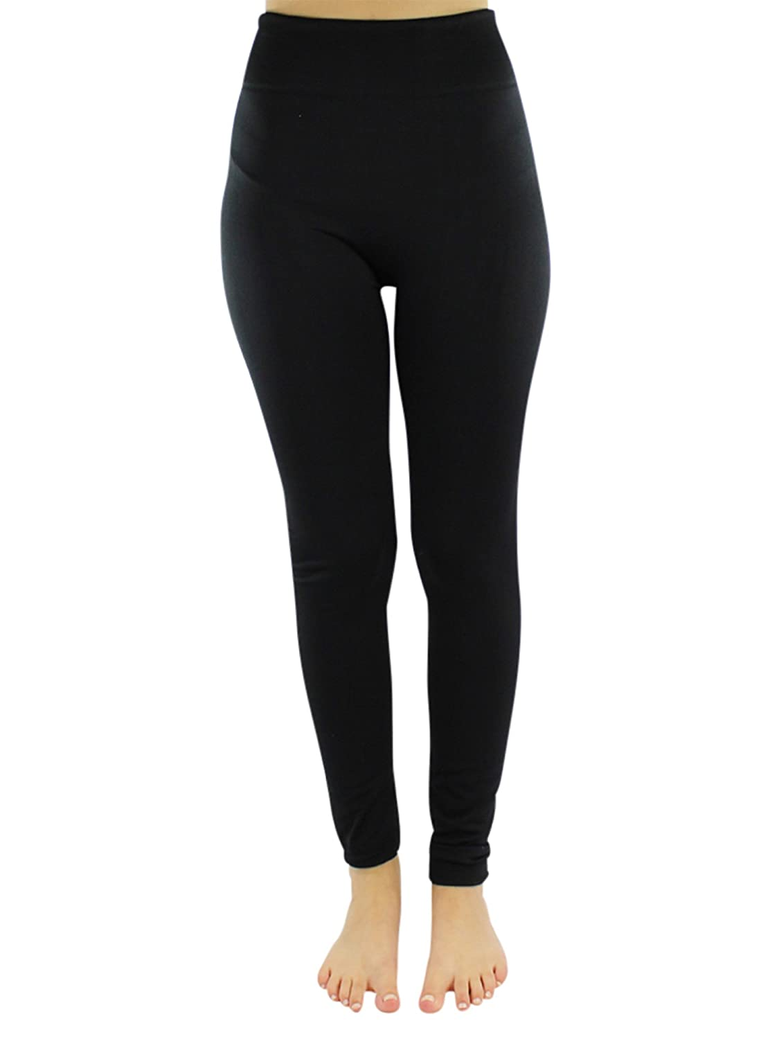 317149cefe085 Black Seamless Stretchy Fleece Lined Leggings at Amazon Women's Clothing  store: