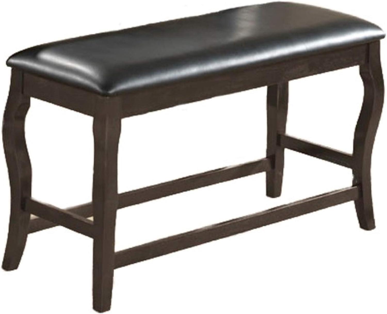 Benjara Benzara BM170321 Wooden Bench With Cushioned Seat Black And Brown,