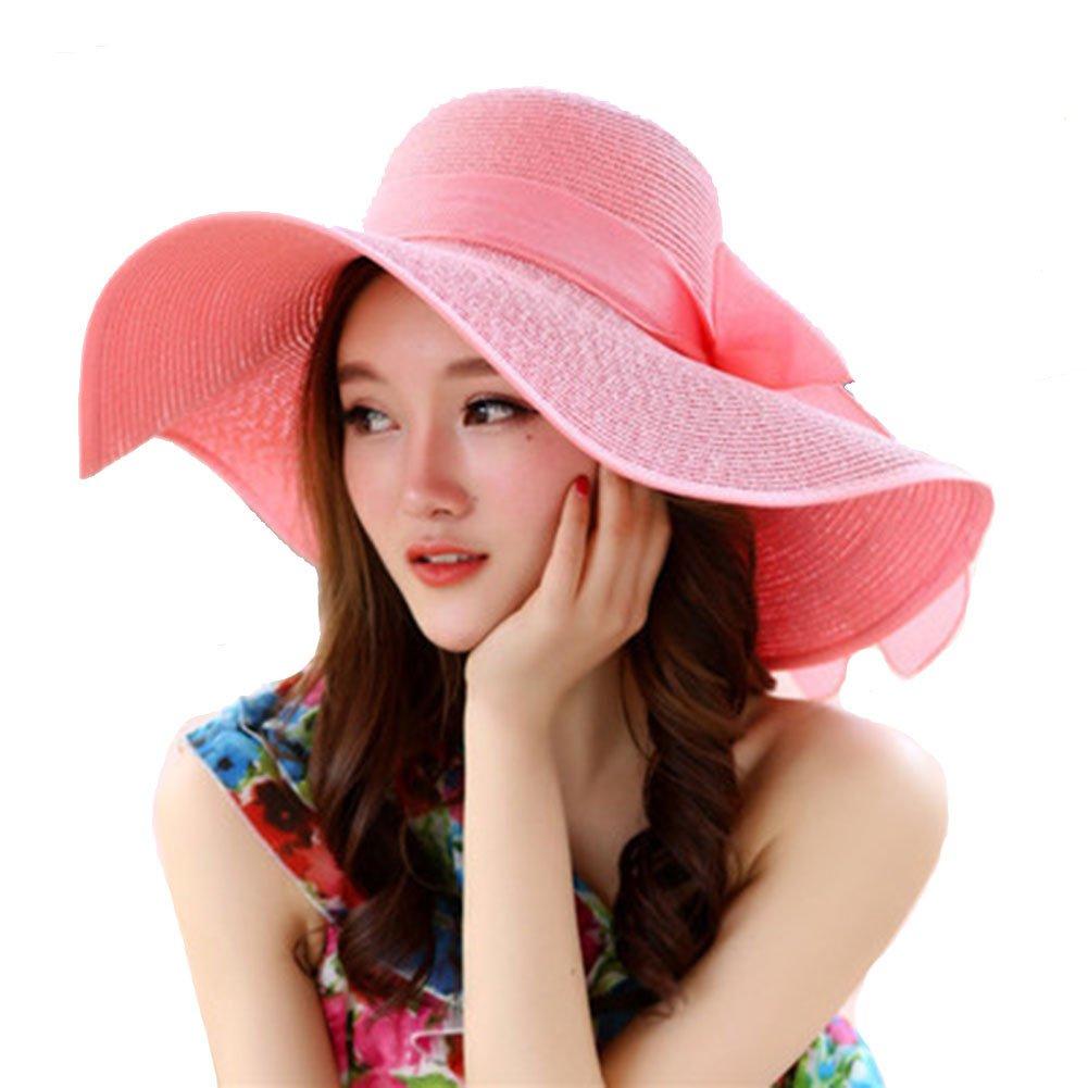 Sunscreen Straw Hat Beach Folding Beach Hat Female Big Cap Beach Vacation Travel Sun Hat (Pink)