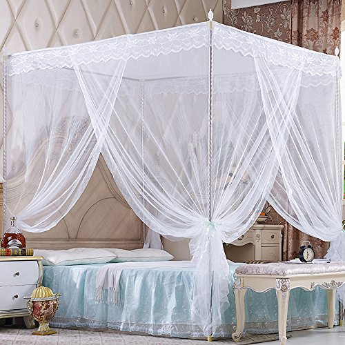 Nattey 4 Corners Princess Bed Curtain Canopy Canopies For Girls Boys Adults Bed Gift (Twin, White) ()