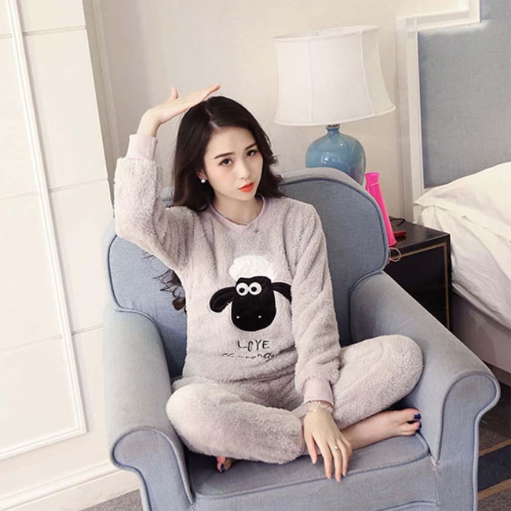 Winter Luxury Pajamas Velvet Women Shuipao Pajamas Warm And Comfortable Home Service Cozy Flannel Pajama Set , m , C