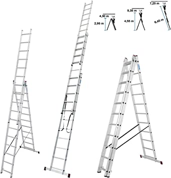 Krause – Escalera multiusos de 30429 Incluye Traverse Altura de trabajo (maX.): 7.25 M corda 030429 aluminio 18 kg: Amazon.es: Bricolaje y herramientas