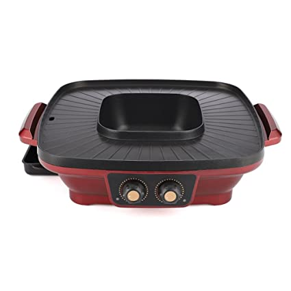 Moolo Parrilla Barbacoa Máquina Grill Hot Pot Grill Eléctrica Hogar One Body Pan Horno Antiadherente Pot