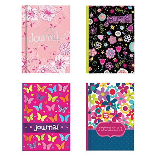"""Hardback Notebook Set (4 Notepads Total) 5"""" x 7"""", Includes Beautifully Illustrated Cover w/ Foil Finishes, Lined Pages, 4 Vibrant Designs Stationery"""