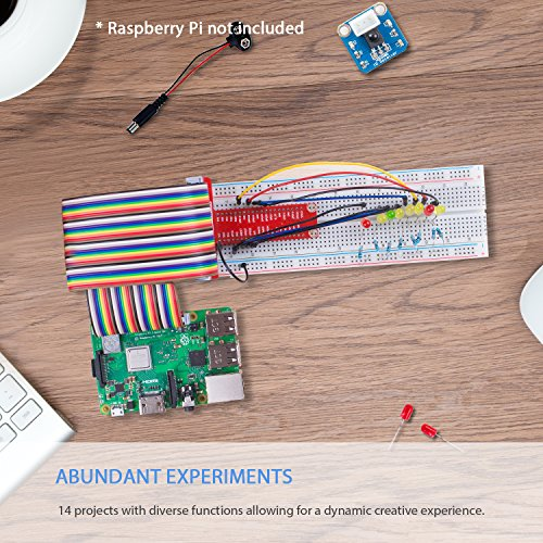 SunFounder Raspberry Pi 3 Model B+ Starter Kit Project Super Kit for RPi 3B+ 3B 2B B+ A+ Zero Including GPIO Breakout Board Breadboard LCD DC Motor LED RGB Dot Matrix 73 Page Manual User Guide by SunFounder (Image #1)