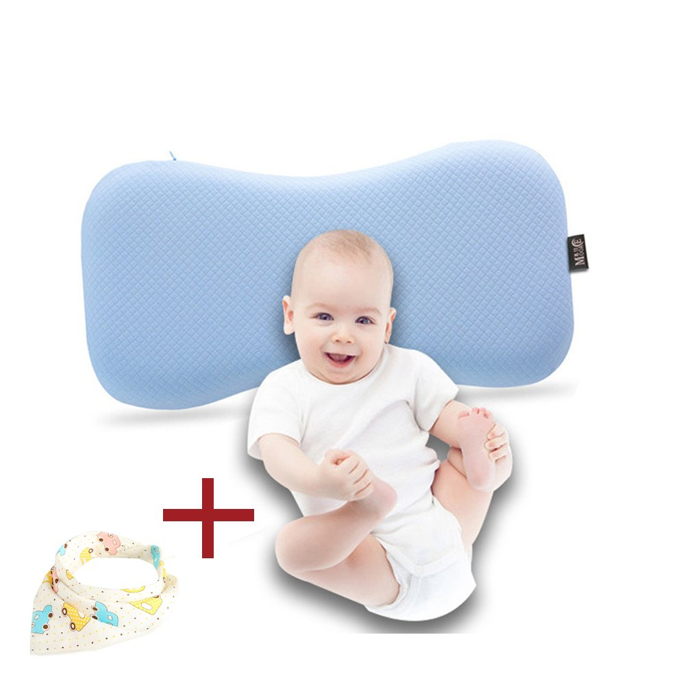 Qutool 0-2 Years Old Baby Setting Head-shaping Memory Foam Pillow Baby Memory Foam Pillow Infant Wide Anti-roll Neck Pillow Prevent Flat Head, Bald & Night Crying (Blue)