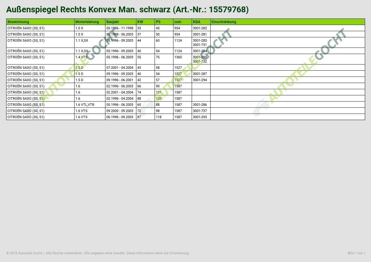 schwarz Citroen Saxo Schr/ägheck 1996-2004 Au/ßenspiegel Rechts Konvex Man