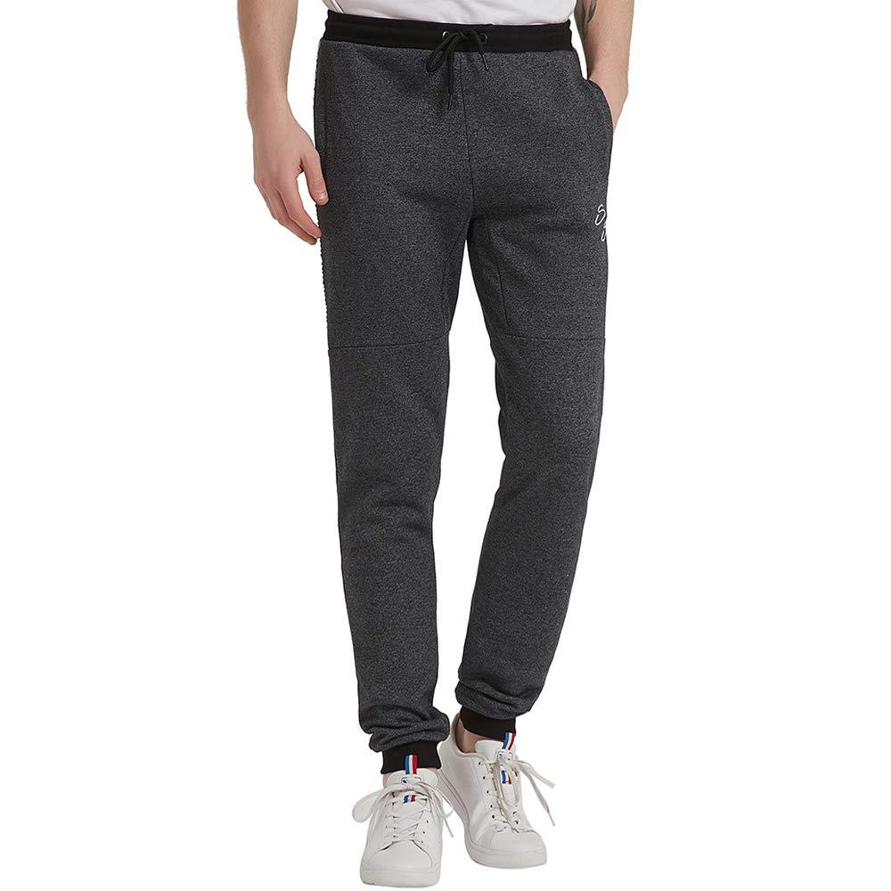 Gochange Mens Fleece Jogger Pants Track Pants Sweatpants for Active Sports Training Running Workout Zip Pocket