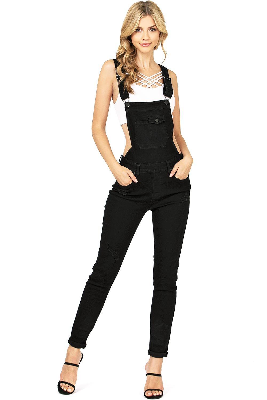 Celebrity Pink Women's Juniors Classic Skinny Leg Overalls (L, New Black)