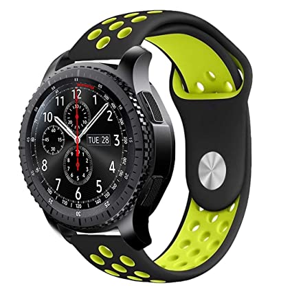 iBazal Gear S3 Watch Band 46mm,22mm Silicone Watch Bands Quick Release Breathable Replacement Strap for Samsung Gear S3 Frontier/Classic/Huawei Watch ...