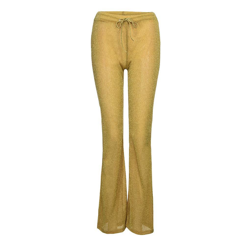 Elogoog Womens Sequin Flared Trousers High Waist Glitter Clubwear Legging Maxi Pants Trousers