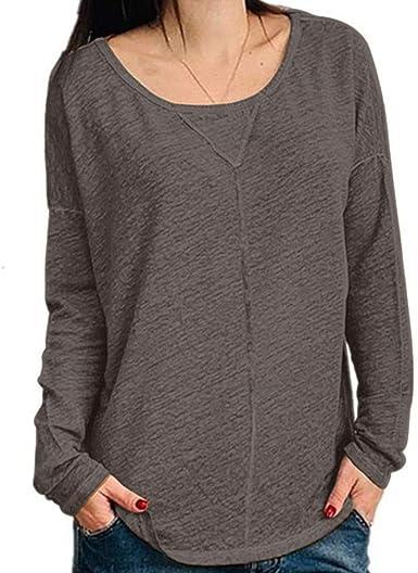 WARMWORD Mujer Tops Color sólido Mujer Cuello Redondo Camiseta Casual Manga Larga tee Camisas Moda Blusa de Las señoras Blusas para Mujer Otoño Talla Grande S-5XL: Amazon.es: Ropa y accesorios