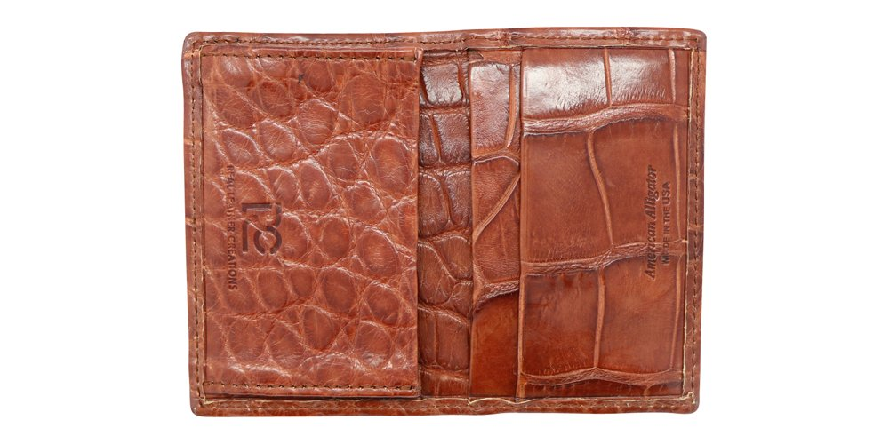 Cognac Genuine Millennium Alligator Gusseted Business/Credit Card Case Wallet – Alligator Inside and Out - Brown & Cognac - Factory Direct Made in USA by Real Leather Creations FBA302 by Real Leather Creations (Image #3)