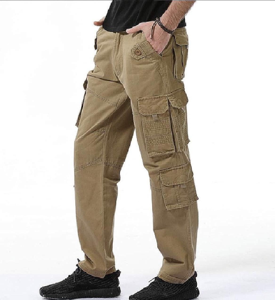 Zimaes-Men Mid Waist Big Tall Loose-Fit Cotton Tactical Combat Pants