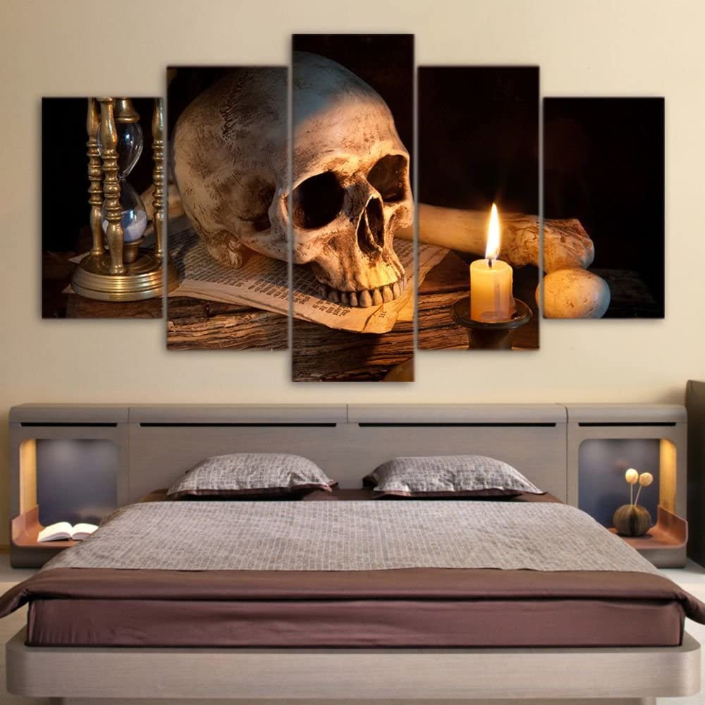 Canvas Art Scary Skull Burning Candle Wall Art Home Decor Canvas Painting Picture Poster Prints 5 Panels with Framed