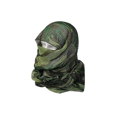 """Beautyrain Nouveau en plein air Écharpe en maille tactique Masque enveloppant Shemagh Voile de Sniper 68""""x33"""" Camo Noir Khaki OD"""