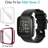 iCoold [2 Pack] Screen Protector Case Design for Fitbit Versa 2, Ultra Slim Soft TPU Full Cover Case All-Around Protective Plated Bumper Shell[Scratch-Proof] for Fitbit Versa 2 (Clear,Pink Gold)