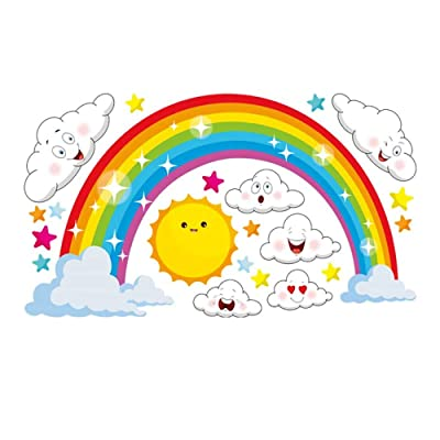 Mendom Rainbow,Sun and Clouds Wall Decals, Peel and Stick Removable Wall Stickers for Kids Nursery Bedroom Living Room,Wall Decor 28.7x15.7inch: Kitchen & Dining