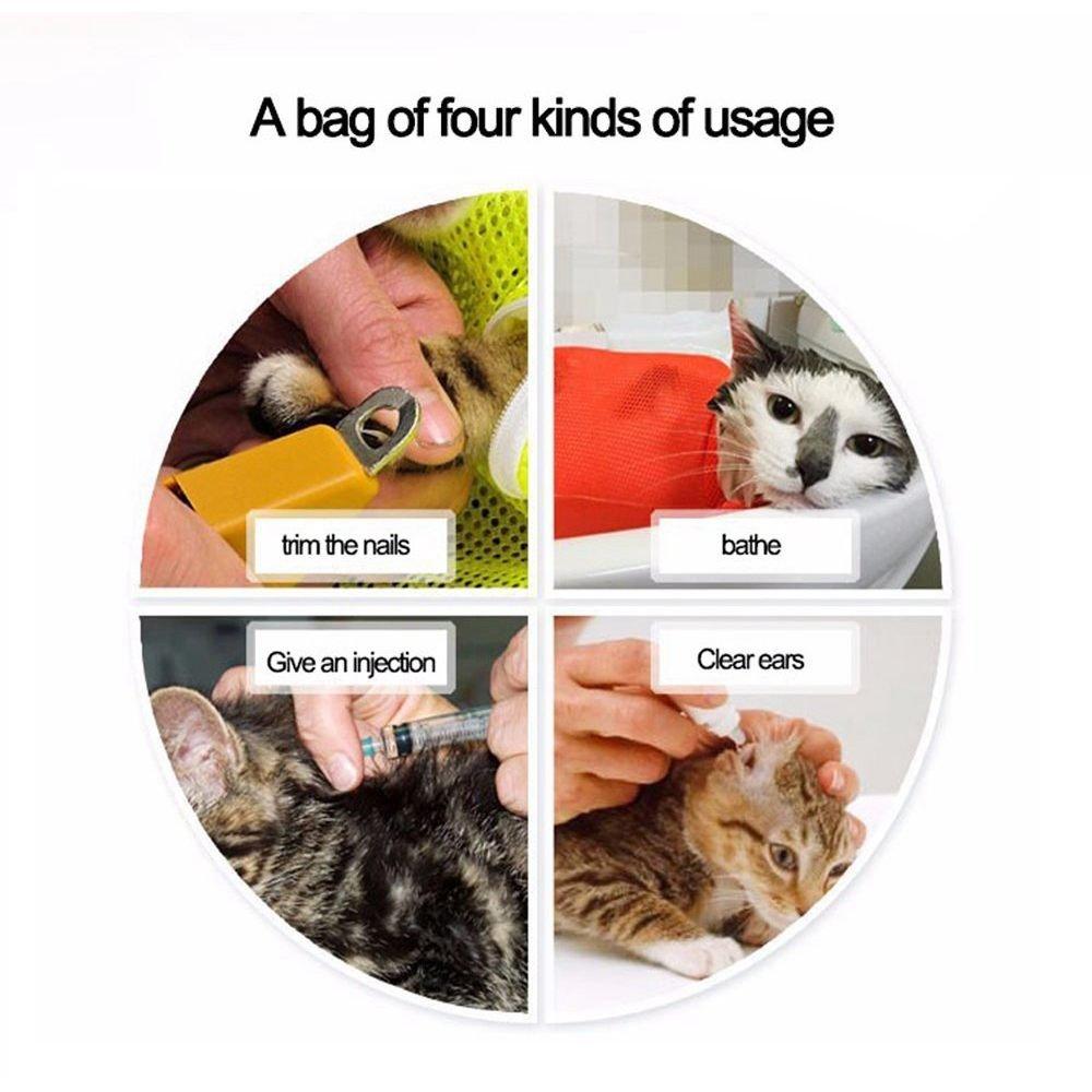 ... gatos Anti Rasguno Anti mordaz Bolsa de malla de poliester Para ducha, limpieza de orejas, corte de unas, alimentacion de medicamentos: Amazon.es: Hogar